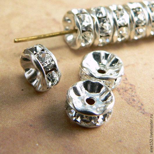 Для украшений ручной работы. Ярмарка Мастеров - ручная работа. Купить 100 шт Упаковка ронделей 5 мм под серебро с кристаллами. Handmade.