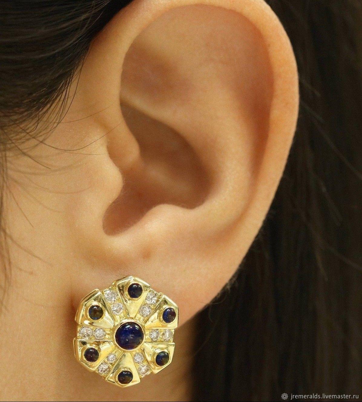 2.60tcw Sapphire Cabochon & Diamond Disc Earrings 18K, Cab Sapphire Ea, Earrings, West Palm Beach,  Фото №1