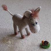 """Куклы и игрушки ручной работы. Ярмарка Мастеров - ручная работа """"Встреча с улиткой"""" Валяный ослик. Handmade."""