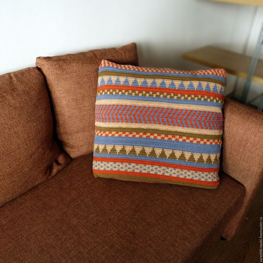 Текстиль, ковры ручной работы. Ярмарка Мастеров - ручная работа. Купить Подушка крючком для интерьера. Handmade. Комбинированный, подушка декоративная