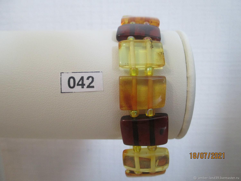 Браслет янтарный многоцветный плоский 4, Браслет из бусин, Калининград,  Фото №1