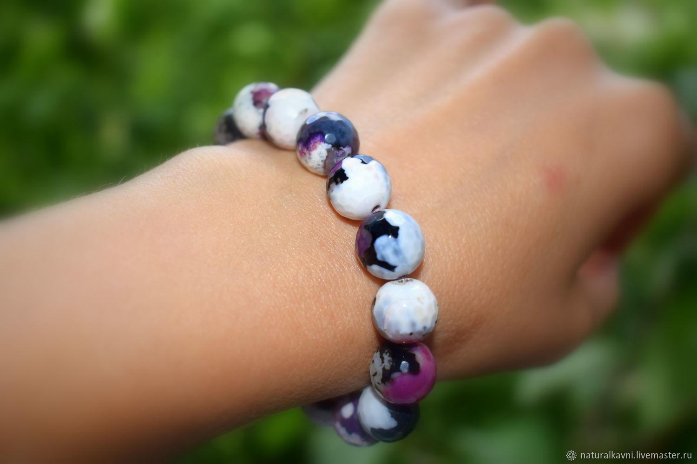 Unusual women's bracelet natural agate multicolor, Bead bracelet, Moscow,  Фото №1