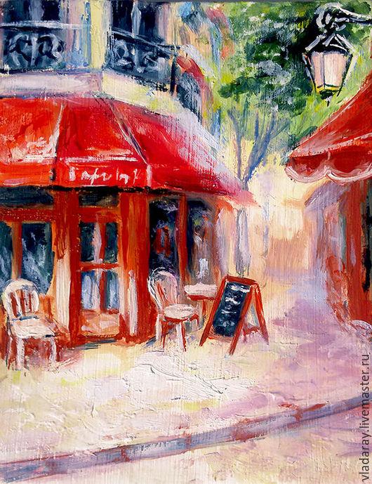 Картина маслом `Уютное кафе`` 20 х 15 см. Доставка по всему миру авиа почтой бесплатно.  Картина - красивый подарок на день рождения, свадьбу, свадебный юбилей и другие праздники.