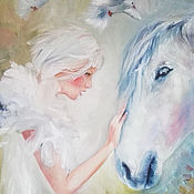 Картины и панно handmade. Livemaster - original item Magic, painting with a horse, portrait of a girl, white doves. Handmade.