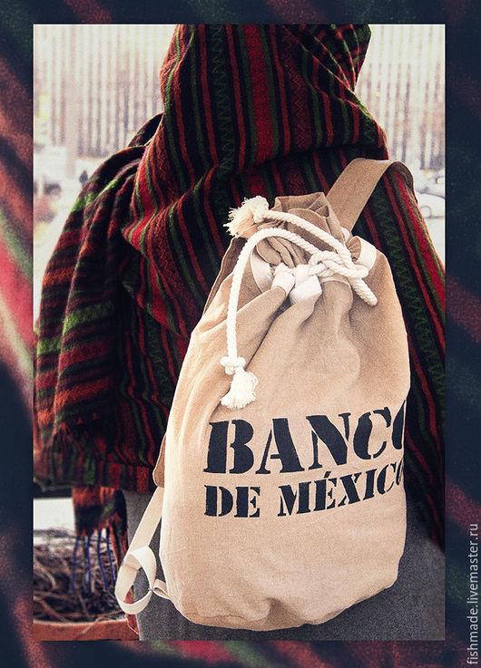 Рюкзаки ручной работы. Ярмарка Мастеров - ручная работа. Купить BANCO DE MEXICO. Handmade. Бежевый, рюкзак, мужской рюкзак