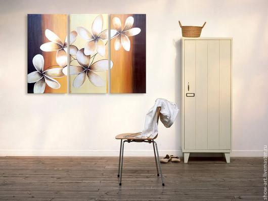 """Картины цветов ручной работы. Ярмарка Мастеров - ручная работа. Купить Модульная картина """"Цветки плюмерии"""" (цветы Тайланда). Handmade."""