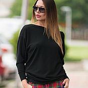 Одежда handmade. Livemaster - original item Black open-back blouse in soft wool-TP0429CK. Handmade.