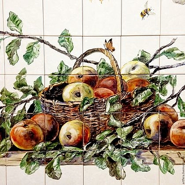 Diseño y publicidad manualidades. Livemaster - hecho a mano Apron for kitchen, pictures of tile Crop.Apples.. Handmade.