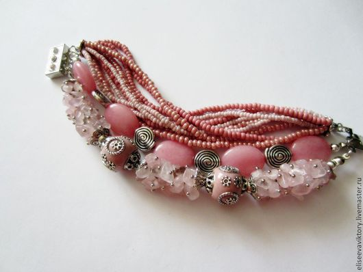 """Браслеты ручной работы. Ярмарка Мастеров - ручная работа. Купить Браслет """"Ода розовому"""". Handmade. Розовый, многорядный браслет"""