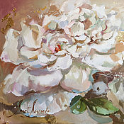 Картины и панно handmade. Livemaster - original item Mother of pearl petals - pattern with peonies on canvas. Handmade.