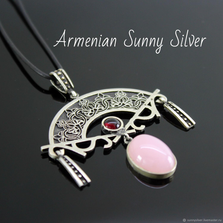 Rosy pendant in 925 sterling silver with quartz and corundum, Pendant, Yerevan,  Фото №1
