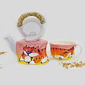 Посуда ручной работы. Ярмарка Мастеров - ручная работа Чайник с кружкой. Кот. Handmade.
