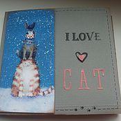 """Канцелярские товары ручной работы. Ярмарка Мастеров - ручная работа фотоальбом  """" Я люблю кошек"""". Handmade."""
