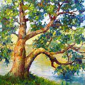 Картины и панно ручной работы. Ярмарка Мастеров - ручная работа Дерево у реки. Холст, масло,30 х 35 см. Handmade.