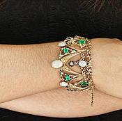 Bead bracelet handmade. Livemaster - original item Vintage Estate 14.06tcw Emerald, Diamond & Opal Crown Bangle Bracelet. Handmade.