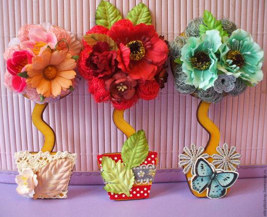 """Топиарии ручной работы. Ярмарка Мастеров - ручная работа. Купить Отложено Топиарий- магнит """" Цветы , лето , солнце """". Handmade."""
