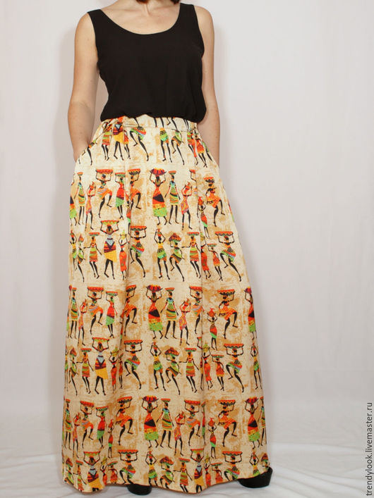 Юбки ручной работы. Ярмарка Мастеров - ручная работа. Купить РАЗМЕР 42-48 Длинная юбка с карманами, африканский принт. Handmade.