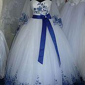 Свадебный салон ручной работы. Ярмарка Мастеров - ручная работа Свадебное платье с вышивкой + фата. Handmade.