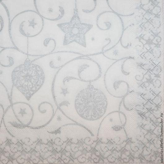 """Декупаж и роспись ручной работы. Ярмарка Мастеров - ручная работа. Купить Салфетка для декупажа """"Зимний узор"""". Handmade. Серебряный, салфетка"""
