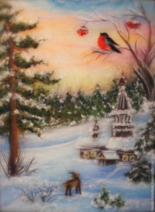 Пейзаж ручной работы. Ярмарка Мастеров - ручная работа. Купить Зимний пейзаж с храмом. Handmade. Синий, Картины и панно