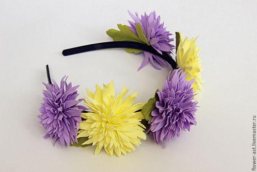 """Диадемы, обручи ручной работы. Ярмарка Мастеров - ручная работа. Купить Ободок с цветами """"Хризантемы"""". Handmade. Сиреневый, ободок для волос"""