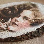 Картины и панно ручной работы. Ярмарка Мастеров - ручная работа Панно на спиле дерева, декупаж, состаривание,  20 см. Handmade.