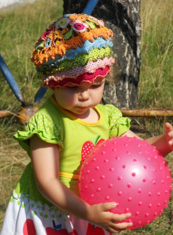 b48d3a1daba Summer knitted baby hat beret made of cotton for girl Bright colors ...