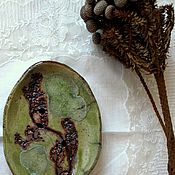 Для дома и интерьера ручной работы. Ярмарка Мастеров - ручная работа Большие керамические мыльницы в оливковых тонах. Handmade.