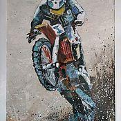 Картины ручной работы. Ярмарка Мастеров - ручная работа Картина мотоцикл эндуро. Handmade.