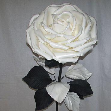 Цветы и флористика ручной работы. Ярмарка Мастеров - ручная работа Интерьерная ростовая роза Черно-белая большая роза. Handmade.