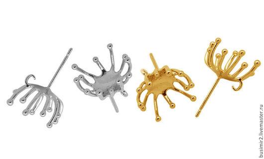 Пуссеты, цвет - золото, платина. Размер 13х14 мм. Пуссеты для создания украшений. Busimir