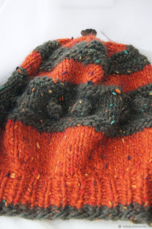 cf54944472fa9 Little pleasures for · Berets handmade. Takes boho knitted Orange bulk of  Icelandic wool 100. Little pleasures for