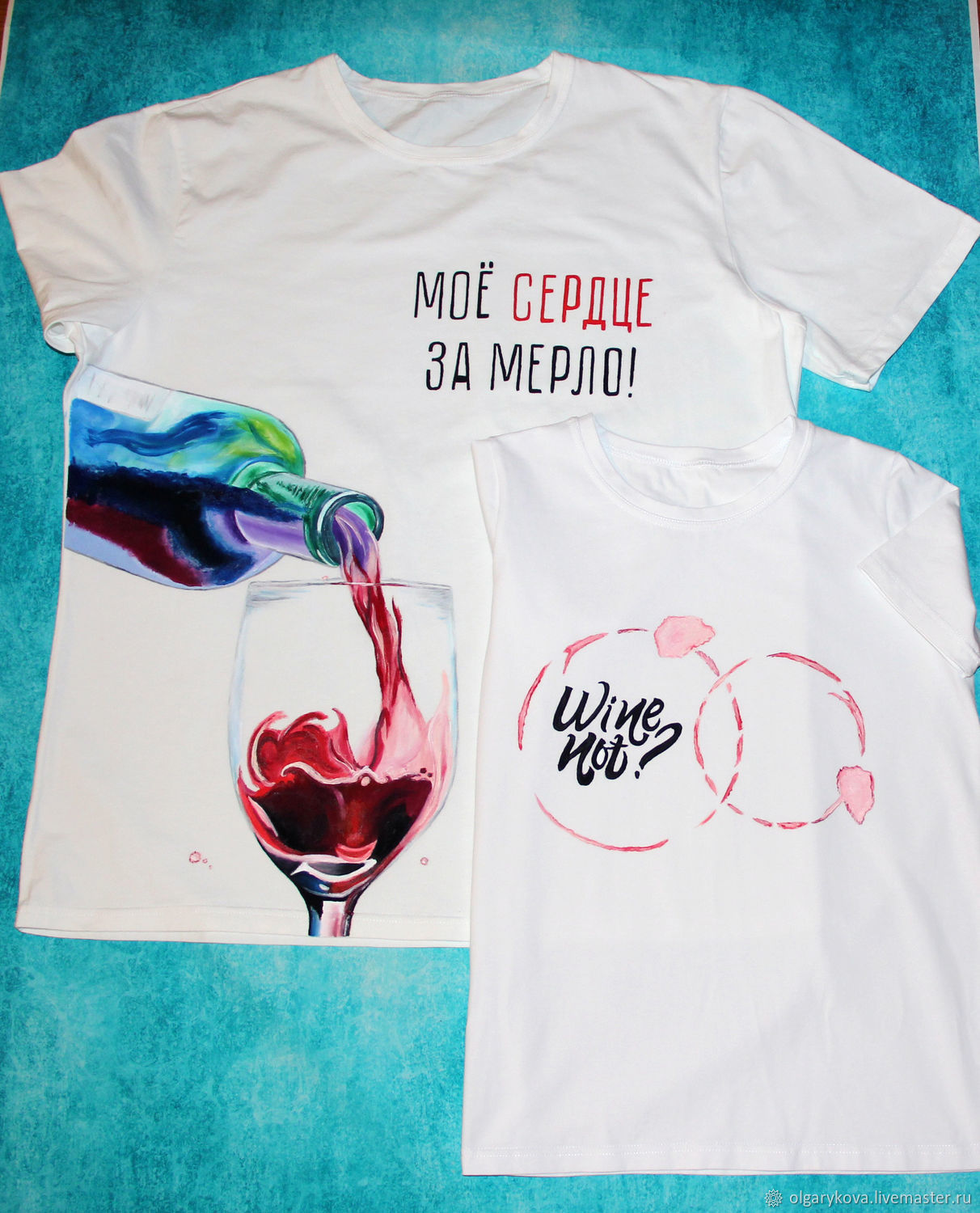 Paired t-shirts with wine wine not? hand painted, T-shirts, St. Petersburg,  Фото №1