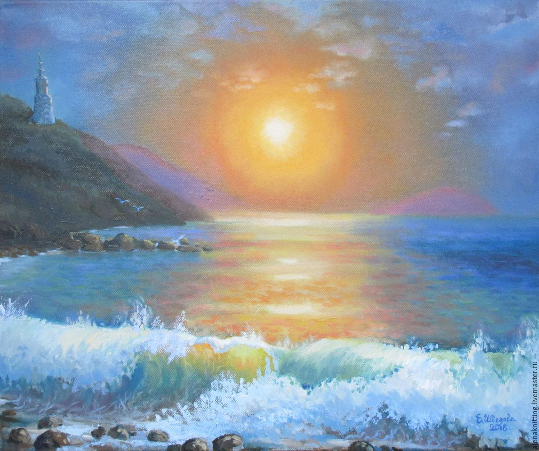 E Shvedova. Oil painting ` Sunrise. Crimea `( canvas on stretcher, oil paint) 50 x 60. 2016. Fair Masters.