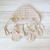 Работы для детей, handmade. Livemaster - original item knitted set for girls hat and socks knitted in beige. Handmade.