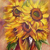 Картины и панно ручной работы. Ярмарка Мастеров - ручная работа Картина с подсолнухами маслом Охапка лета,40х60 подсолнухи желтый. Handmade.