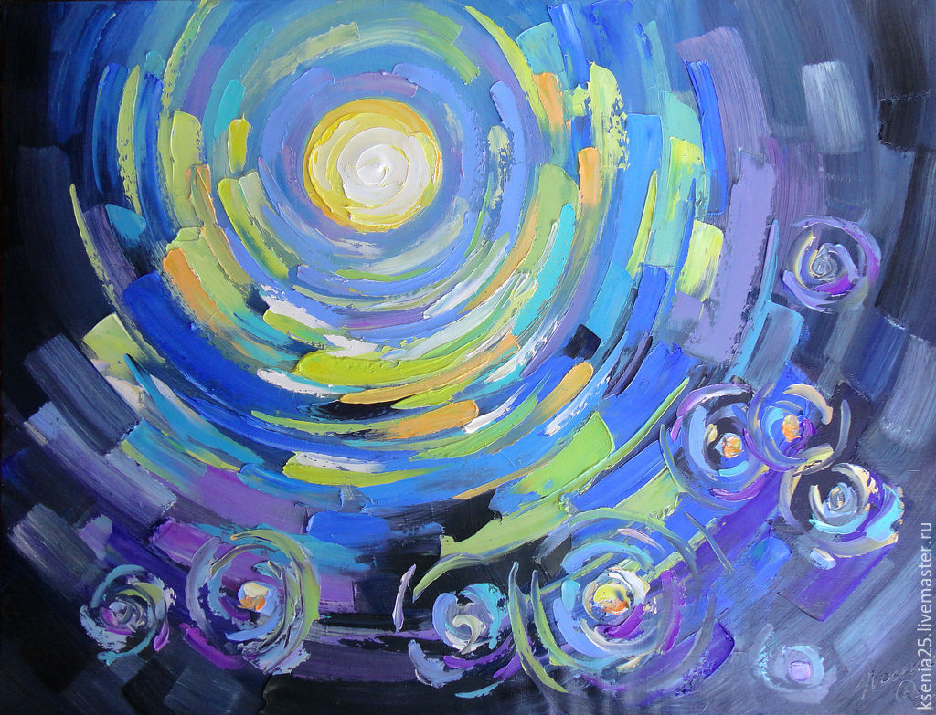Oil painting and palette knife Flickering in the night, Pictures, Rossosh,  Фото №1