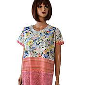 Одежда handmade. Livemaster - original item Tunic long summer lightweight made of cotton and knitwear. Handmade.