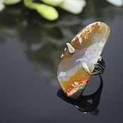 Украшения handmade. Livemaster - original item Gold-plated ring made of 925 silver with natural Jasper. Handmade.