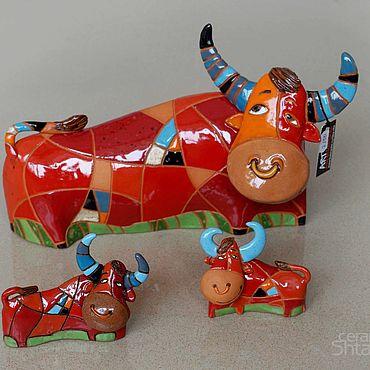 """Сувениры и подарки ручной работы. Ярмарка Мастеров - ручная работа Миниатюра """"Красный бык""""(керамика). Handmade."""