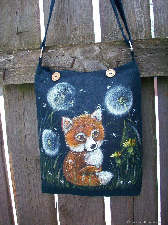 Лисёнок в одуванчиках...Льняная сумка с ручной росписью
