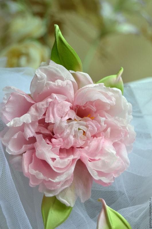 Броши ручной работы. Ярмарка Мастеров - ручная работа. Купить Цветы из шелка Пион  Флориона. Handmade. Бледно-розовый