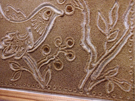 """Животные ручной работы. Ярмарка Мастеров - ручная работа. Купить """"Райская птичка"""" из песка панно. Handmade. Коричневый, картина в подарок"""