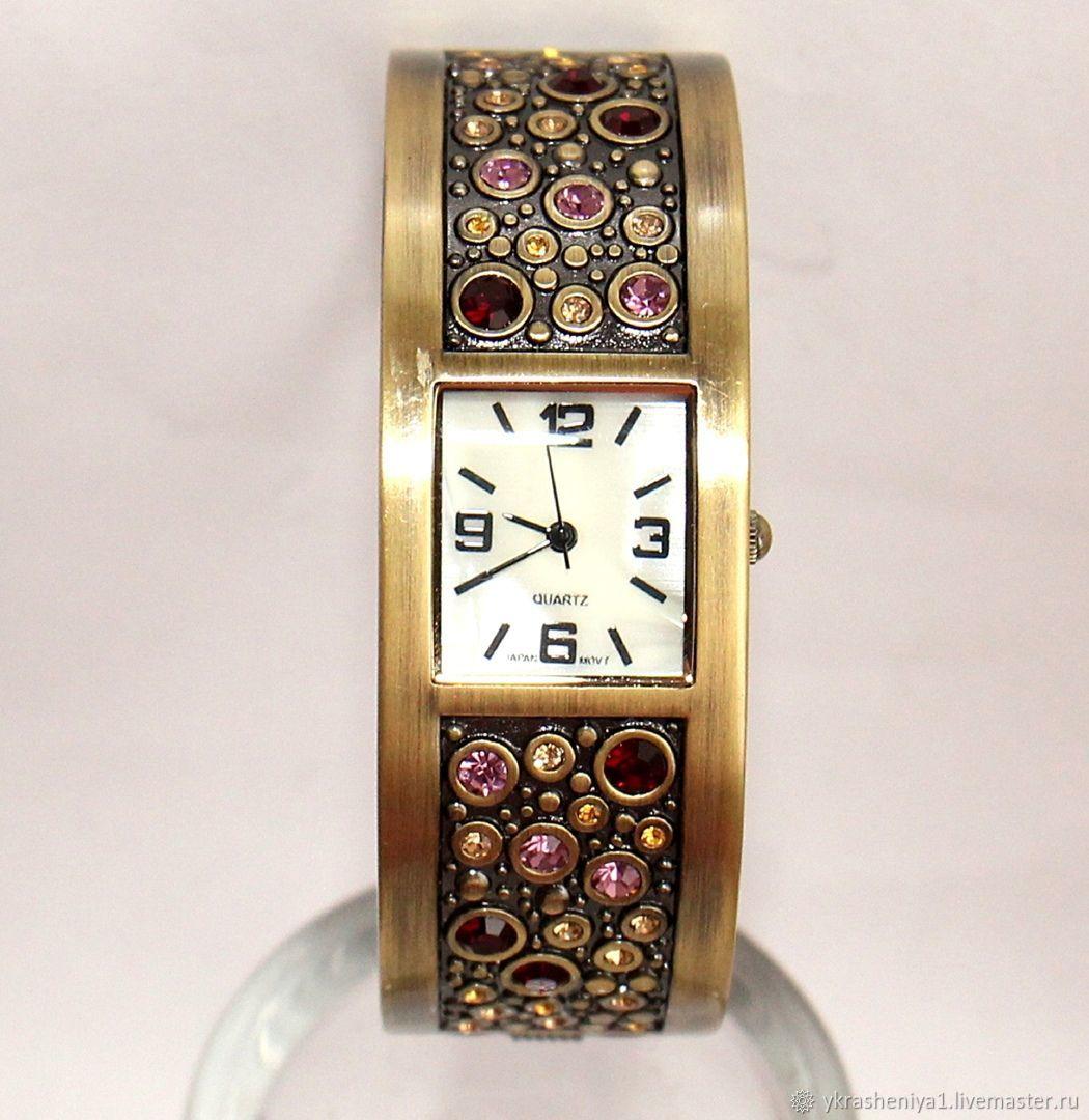 Винтаж: Часы браслет камни кварц 10, Часы винтажные, Москва,  Фото №1