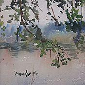 """Картины и панно ручной работы. Ярмарка Мастеров - ручная работа Картина """"Ветви над рекой Валой"""" акварель. Handmade."""