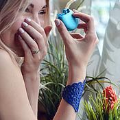 Украшения ручной работы. Ярмарка Мастеров - ручная работа Кожаный браслет Синяя волна. Handmade.