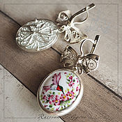 handmade. Livemaster - original item Kolibri finift earrings, 999 silver. Handmade.