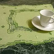 Для дома и интерьера handmade. Livemaster - original item embroidered doily in hardanger, green technology, handmade. Handmade.