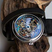 Украшения ручной работы. Ярмарка Мастеров - ручная работа Стимпанк часы на длинном кожаном ремешке. Handmade.