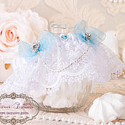 """Свадебный салон ручной работы. Ярмарка Мастеров - ручная работа Свадебная подвязка """"Голубые дали"""". Handmade."""